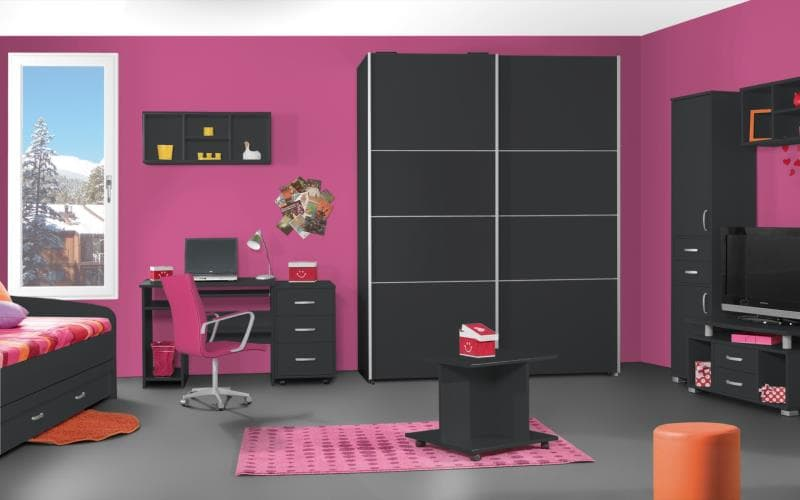 Treviso Handle-less Gloss Anthracite Bedroom