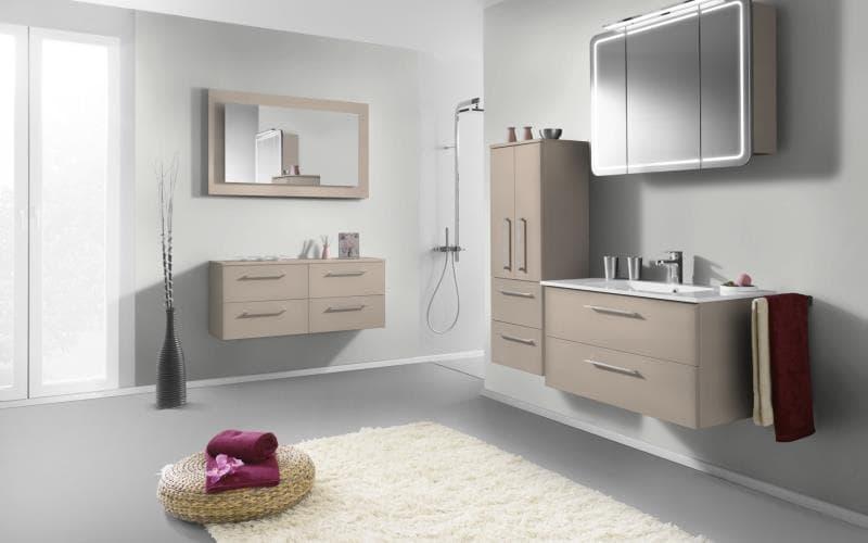 Treviso Handle-less Gloss Beige Bathroom