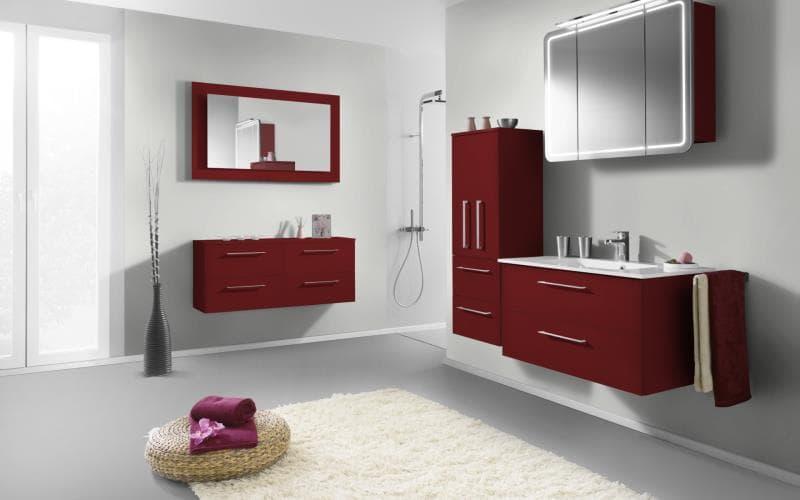 Treviso Handle-less Gloss Burgundy Red Bathroom