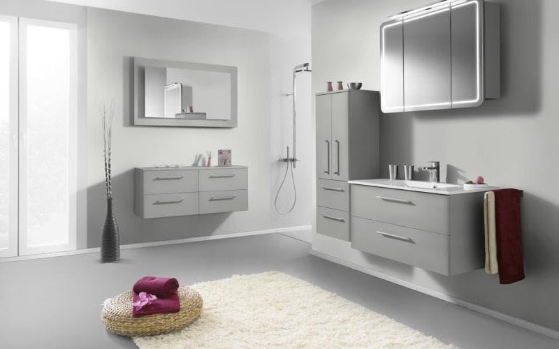 Treviso Handle-less Gloss Light Grey Bathroom