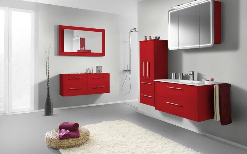 Treviso Handle-less Gloss Red Bathroom