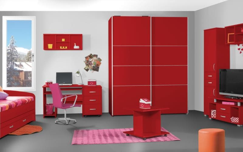 Treviso Handle-less Gloss Red Bedroom