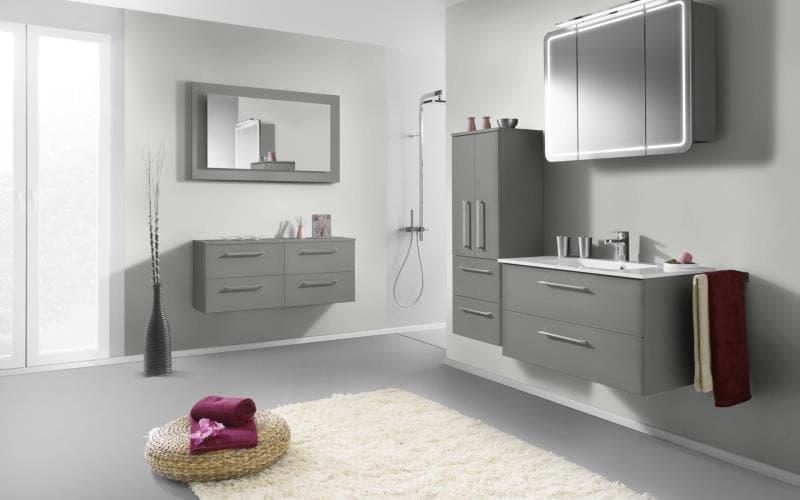 Treviso Handle-less Gloss Silver Bathroom