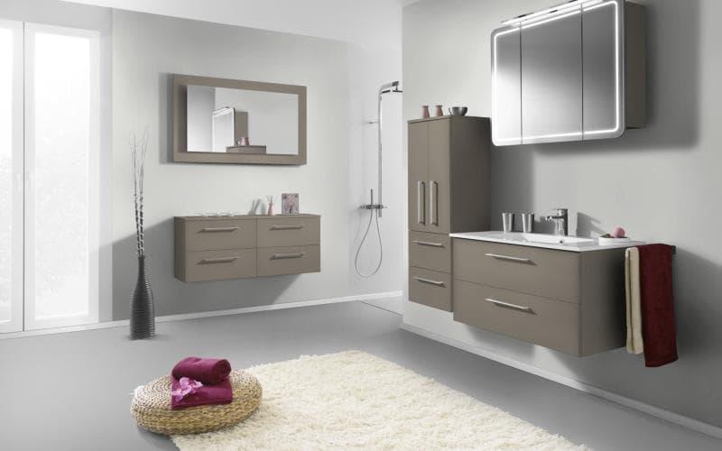 Treviso Handle-less Matt Stone Grey Bathroom