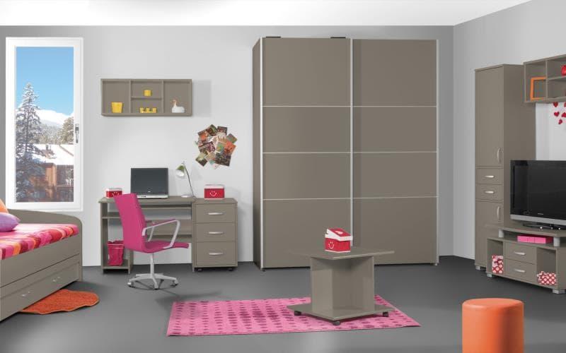 Treviso Handle-less Gloss Stone Grey Bedroom