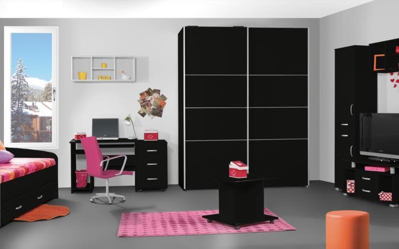 Treviso Handle-less Matt Black Bedroom