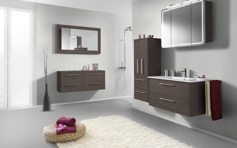 Treviso Handle-less Matt Brown  Grey Avola Bathroom