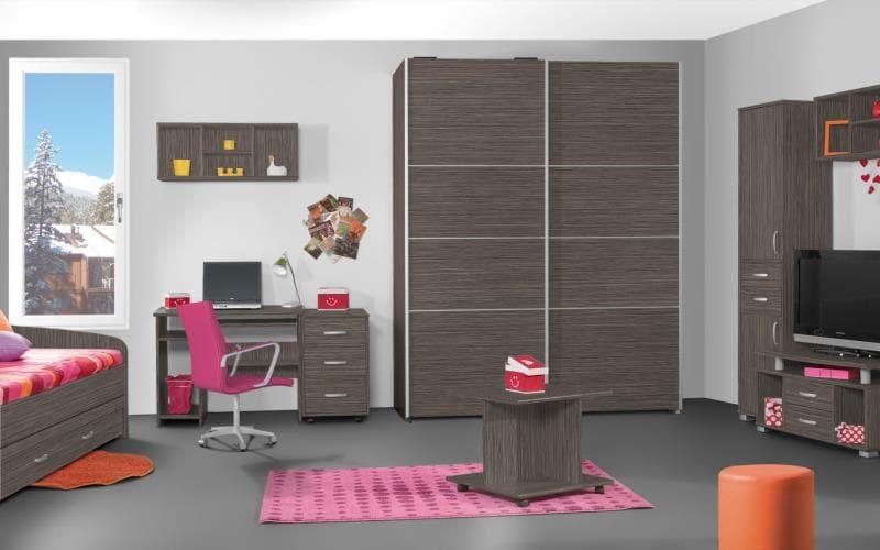 Treviso Handle-less Matt Grey Drift Oak Bedroom