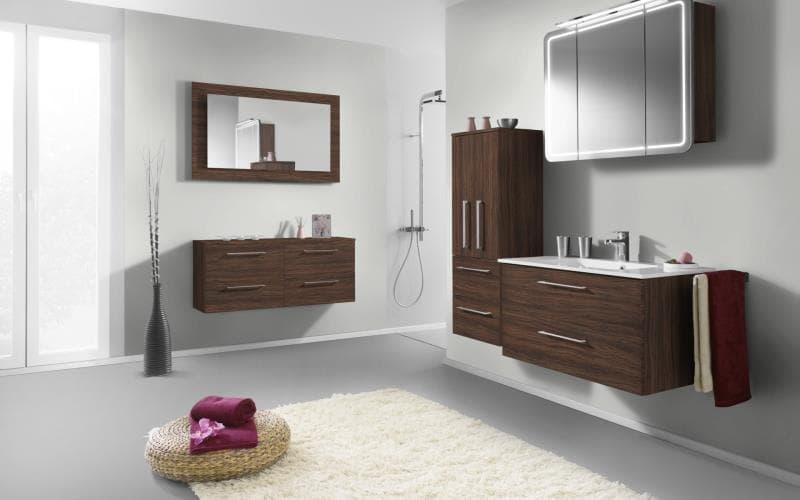 Treviso Handle-less Matt Olive Wood Bathroom