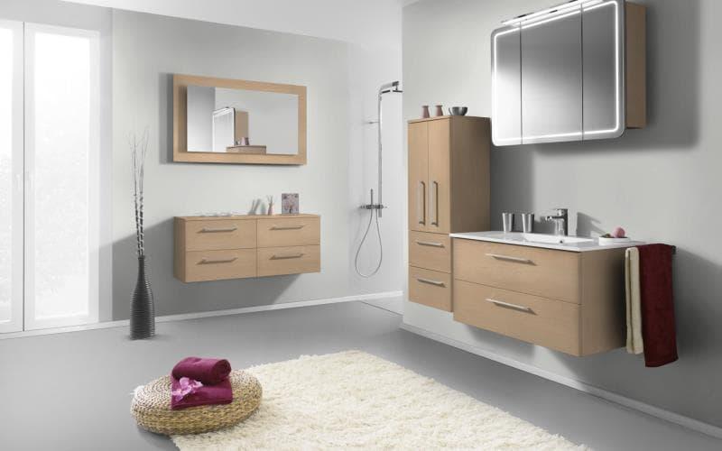 Treviso Handle-less Matt Ontario Maple Bathroom