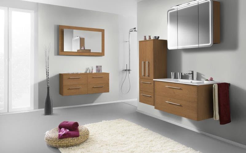 Treviso Handle-less Matt Pippy Oak Bathroom