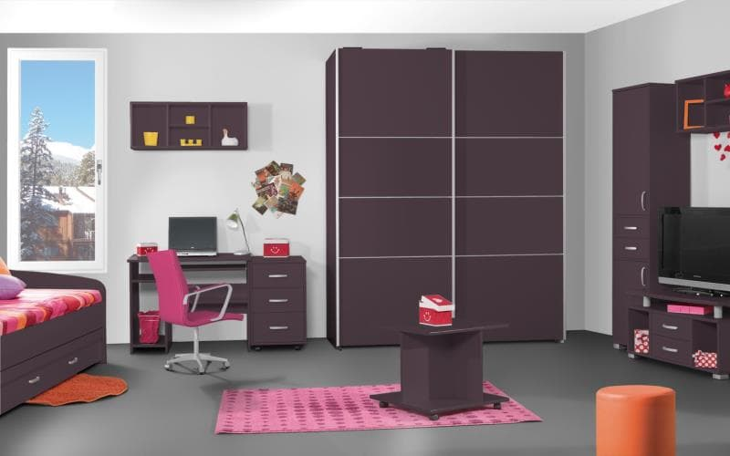 Treviso Handle-less Matt Plum Bedroom
