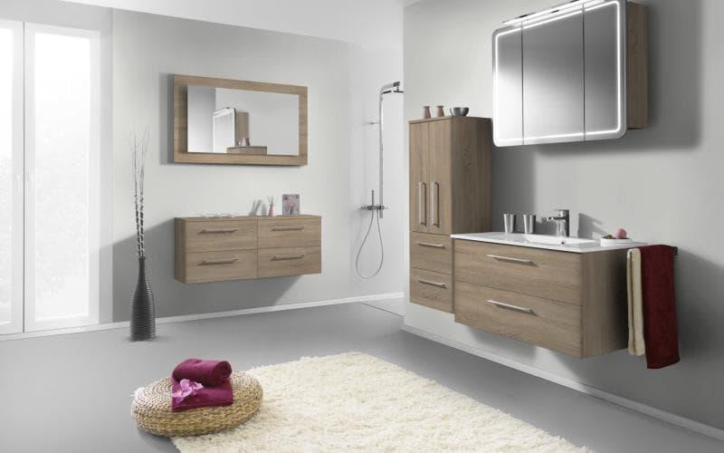 Treviso Handle-less Matt Sonoma Oak Bathroom
