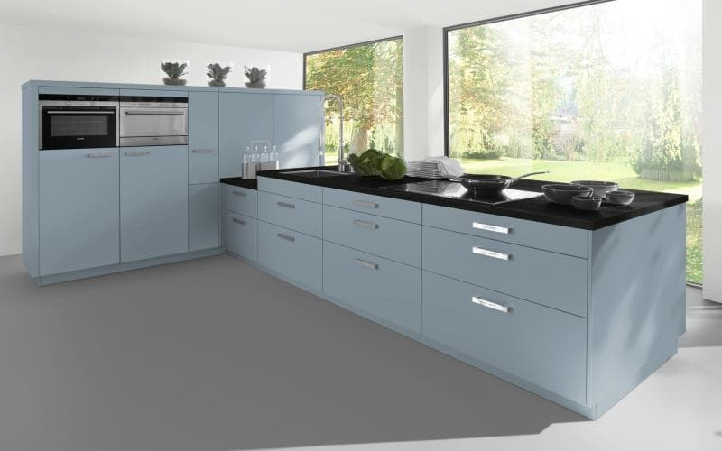 Sorrento Gloss Ice Blue Kitchen