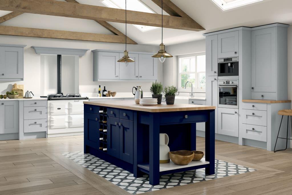 5Piece fenwick kitchen white grey marine blue