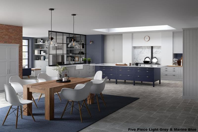 Five Piece Light Grey & Marine Blue