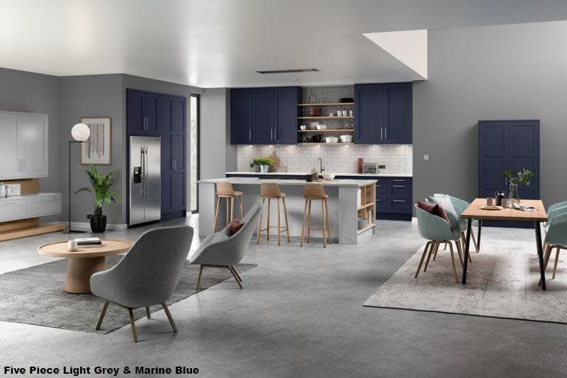 Five Piece Marine Blue & Light Grey