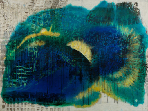 Heart Sutra_Aura Blue with Golden Realm_145x80cm