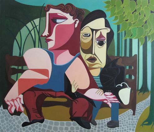 Mao Guo - Park, 90 x 115 cm, Oil on Canvas,2007