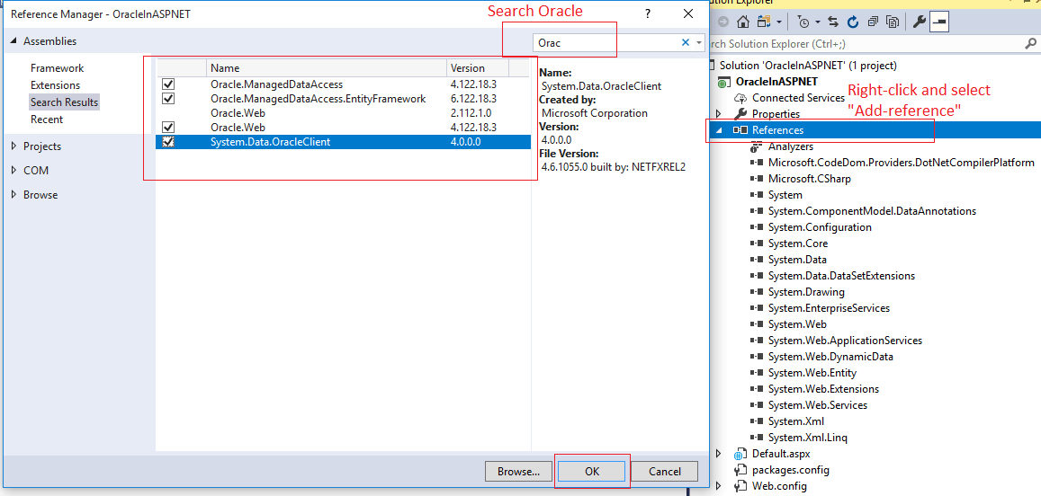 How to connect oracle database in asp.net using c#