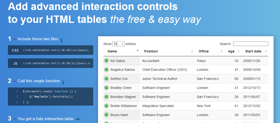 Useful and amazing jQuery table plugins to use in web-applications
