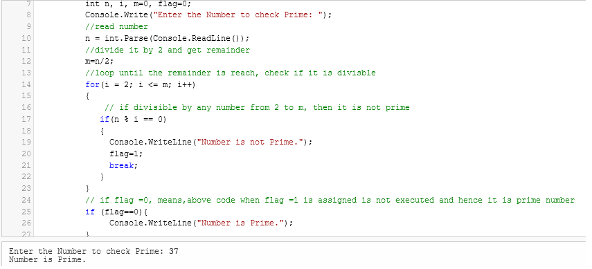 Simple C# code examples with output (Console application example)