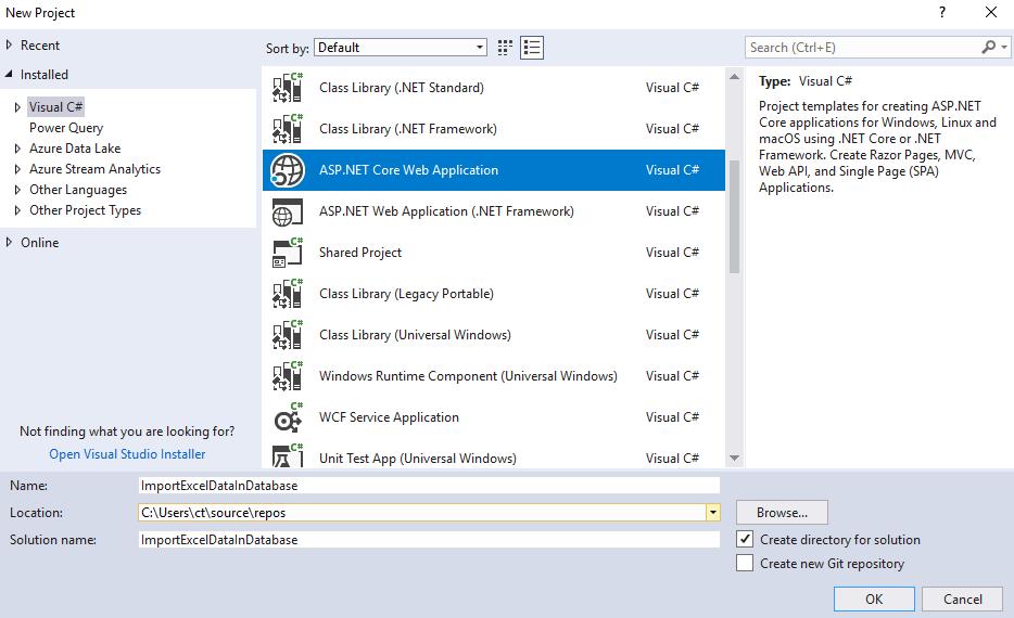 Import Excel data in Sql server database in ASP.NET Core MVC using OleDb