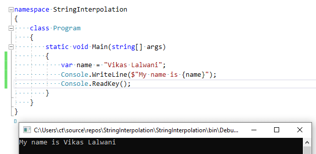 String Interpolation in C# with examples