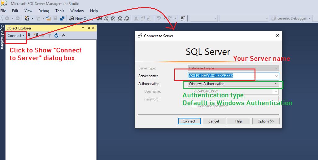 Creating SQL Server Database using SQL Server Management Studio