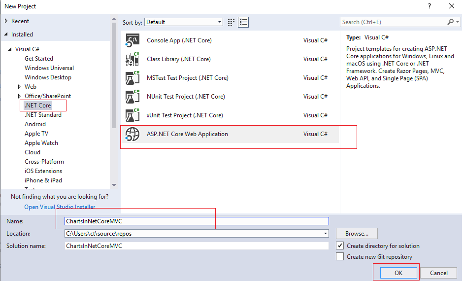 Creating Google charts in ASP.NET Core MVC