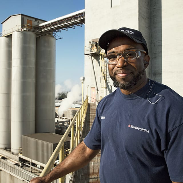 Male Purina Worker at a Factory