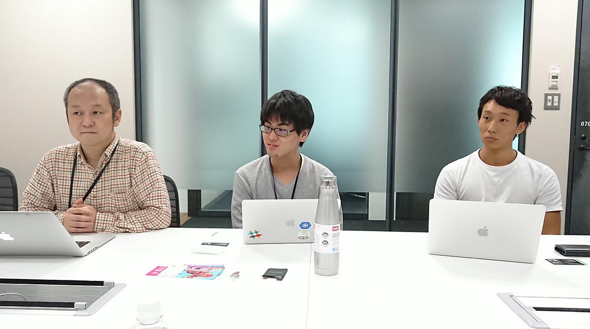 モンスト運用メンバーの3人。左から小池知裕氏、佐藤良祐氏、白川祐介氏