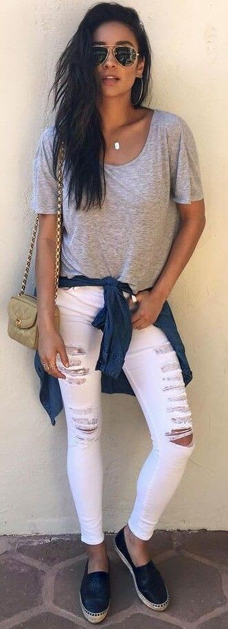 Sexy White Ripped Denim Jeans Women online India