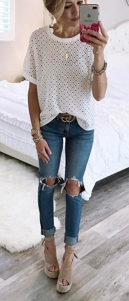Sexy Ripped Denim Jeans Women online India