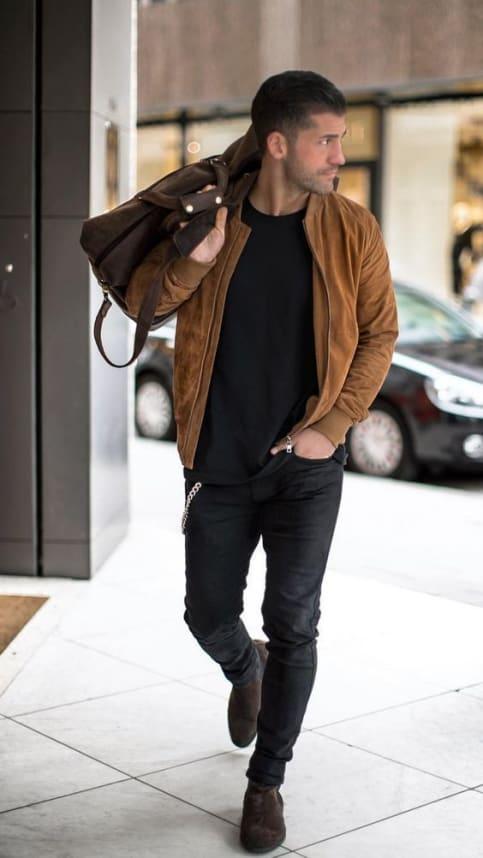 brown suede jacket for men