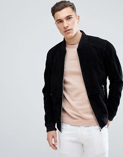 black full zip suede jacket for men