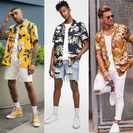 Floral Printed Beach Shirt Outfit For Men