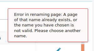 Error in renaming a page