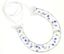 Bridal Accessories Blue Crystal Horseshoe