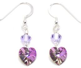 Fashion Jewellery Lilac Vitrail Heart Earrings