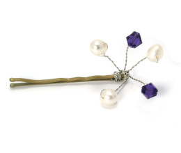 Bridesmaid Jewellery Purple Velvet Pearl Grip