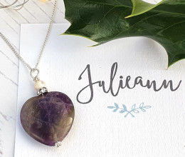 Fashion Jewellery Amethyst Heart Pendant Necklace