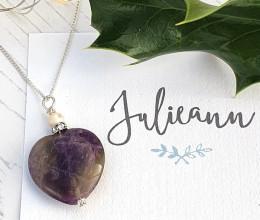 Fashion Jewellery Amethyst Heart Pendant Necklace