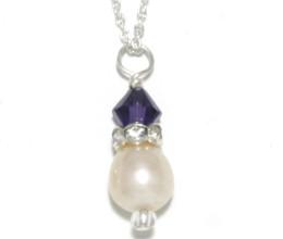 Bridesmaid Jewellery Purple Velvet Pearl Drop Necklace