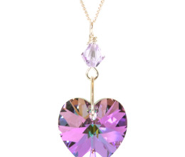 Bridesmaid Jewellery Lilac Vitrail Heart Necklace