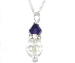 Bridesmaid Jewellery Purple Velvet Crystal Drop Necklace