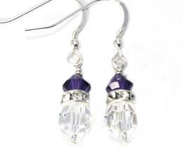 Bridesmaid Jewellery Purple Velvet Crystal Drop Earrings
