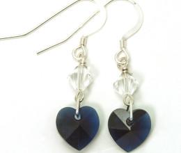 Bridesmaid Jewellery Indigo Heart Earrings