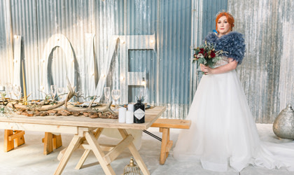 Blue and Gold Winter Wedding with Celestial Elements