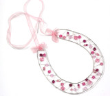 Pink Crystal Horseshoe - Pretty pink perfection in this good luck bridal Swarovski crystal horseshoe